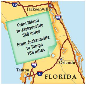 A Write Number Sentence That Compares The Mileage From Miami To Jacksonville Tampa And