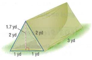 A tent is in the shape of a triangular prism. About how much canvas including the floor is used to make the tent?  sc 1 st  Math Practice 101 & Homework Explained Math Practice 101 Grade: 6 Page: 777